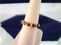 14K Gold Ring (5) Round Emeralds 1.6mm Ring Size 6.25
