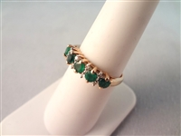 14K Gold Ring with (5) Round Emeralds (8) Diamond Chips Ring Size 6.5