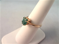 14K Gold Ring with Emerald Cut Emerald 6x4mm Ring Size 6.25