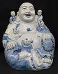 "16"" Chinese Porcelain Hotoi Buddha w Children Signed"