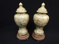 Pair Spinach Jade Carved Lidded Urns on Bases