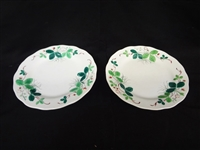 Pair of RARE French Majolica Strawberry Fraise Creil Montereau Footed Serving Plates