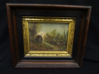 19th Century Original Oil on Canvas Cabin in the Woods