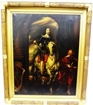 Charles I Equestrian Portrait Oil on Canvas 18th century copy after Van Dyck in Stunning Gilt Frame