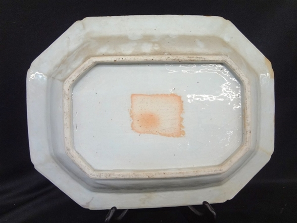 Chinese Blue and White Rectangular Octagon Oversize Charger Bowl Early Piece