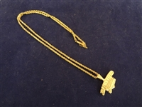 14K Gold Rope Necklace with 14K Jacobs Field Charm