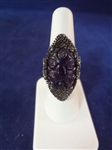 Sterling Silver Ring with Large Carved Amethyst Cabochon 20 x 15mm