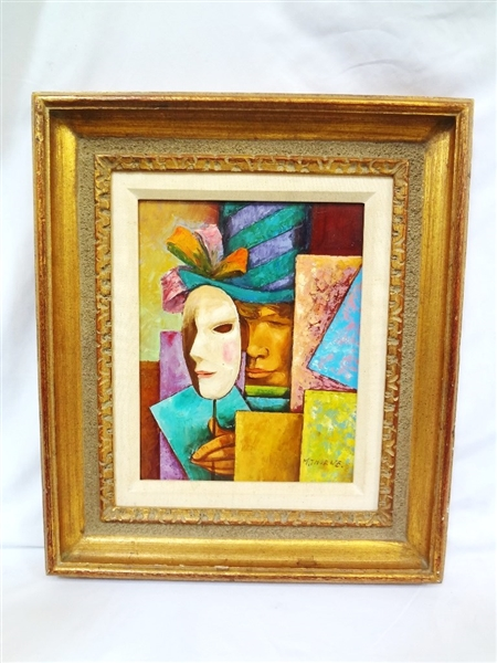 M. Thorne (20th c British) Oil Painting in Gilt Frame Man with Mask