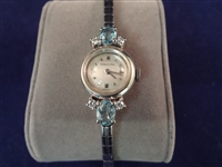 14k Gold Ladies Dress Watch Diamonds and Aquamarines H.W. Beattie and Sons
