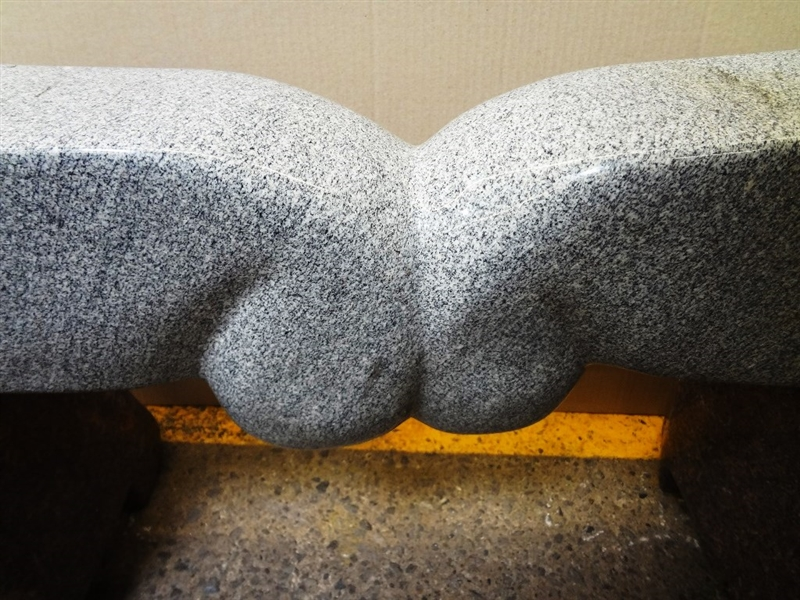 Large Granite Two Color Bench Sculpture