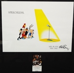 "Mel Blanc Signed Card, ""Speechless"" Lithograph Tribute Piece to Mel Blanc"