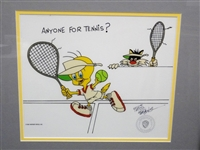 """Tweet and Sylvester"" Friz Freleng Signed Animation Cel ""Anyone For Tennis"" COA"