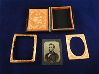 "Abraham Lincoln Tin Type in Case ""Five Dollar Bill Pose"""