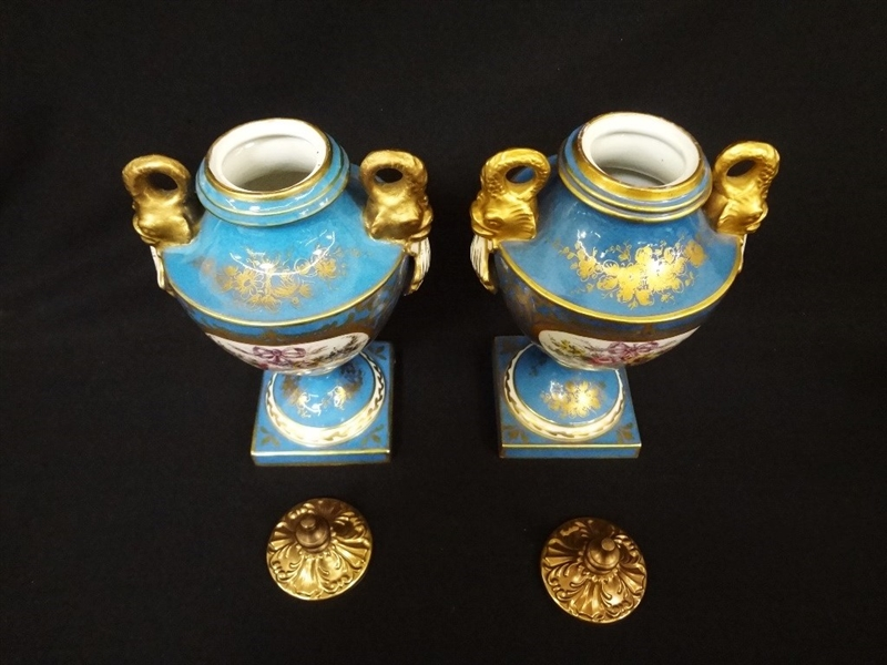 Sevres French porcelain (2) Brass Lidded Urns