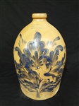 Rare Michael and Theophilus Miller 4 Gallon Jug Cobalt Flowering Bird Decoration