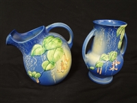 "Roseville Pottery ""Fuchsia"" 1938 Blue Ice Lip Water Pitcher and Vase"