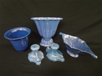 (4) Cowan Pottery Pieces: Candlesticks, vase, and bowls Blue Lustre