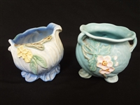 "(2) Weller Pottery Rose Bowls ""Roba"" one Other"