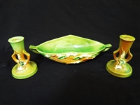 "Roseville Pottery Console Bowl and Candlesticks ""Snowberry"" Pattern"