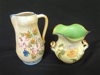 "(2) Weller Pottery Pieces: Pitcher ""Bonito"" and Ruffled Vase"