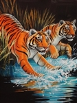 Greg Biolchini (1948-) Large Original Pastel Two Tigers. Matted and Framed