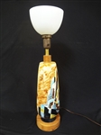 Mid Century Modern Cityscape Table Lamp Signed