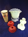 (4) Weller Pottery Pieces: Candlesticks, vases