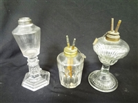 (3) Camphene Whale Oil Lamps with Double Burners