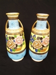 Pair Hand Painted Nippon Moriage Vases