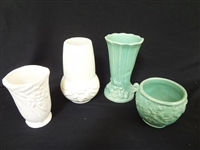 (4) Nelson McCoy Pottery Vases: 2 Matte White, and 2 Green