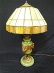 Jadeite, Brass and Slag Glass Table Lamp