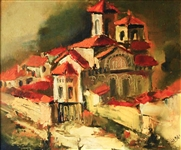 "Bulgarian Oil Painting on Masonite ""Nessebar"" 1990"