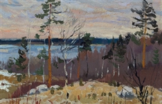 "Mark Kremer (Russian 1928) Oil on Art Cardboard ""Coppices Near the Lake"""