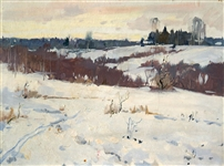 "Mark Kremer (Russian 1928) Oil on Board ""Winter Fields"""