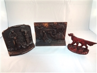 (3) Cast Iron Single Book Ends: Pointer Dog, Men on Camels, Praying Couple