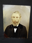 Embellished Hand Colored Full Plate Tin Type Portrait Male in Deep Well Frame