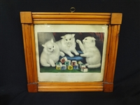 "Currier and Ives Hand Colored Lithograph ""My Three White Kittens"" in Period Frame"