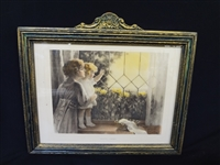 "Bessie Pease Gutman ""Daddys Coming"" Lithograph in Period Frame"