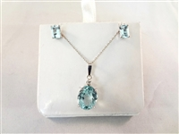 18k White Gold Diamond Aquamarine Necklace, Earring Suite
