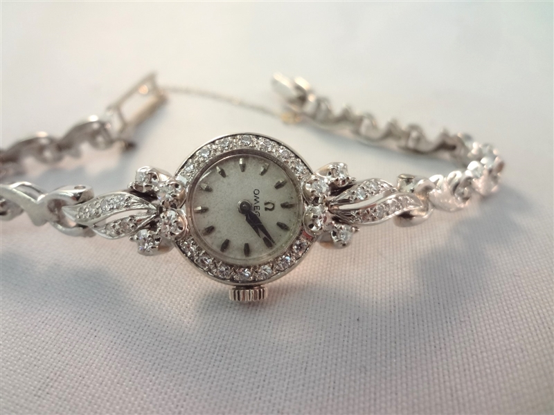 14k White Gold Omega Ladies Watch with 35 Pave Setting Diamonds