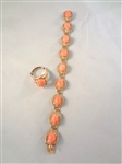 14k Gold Bracelet and Matching Ring with Coral Cabochons