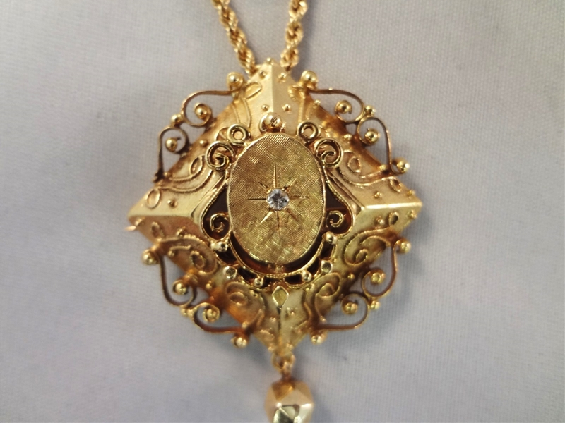 14k Gold Victorian Necklace and Pendant with Single Solitaire Diamond Center