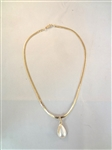 14k Herringbone Chain With Mother of Pearl Drop and 3 Diamond Pendant