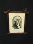 George Washington 1870s Currier and Ives Lithograph in Folk Art Frame