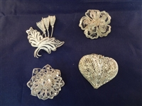 (4) Sterling Silver High Filagree Brooches and Pendant