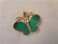 14k Gold Malachite Diamond Butterfly Pendant
