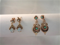 (2) 14k Yellow Gold Opal and Turquoise Dangle Drop Post Earrings