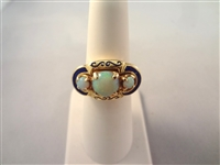18k Yellow Gold Opal and Inlaid Lapis Lazuli Ring