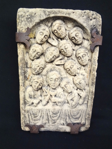 Sandstone Carving Jesus and 12 Disciples Iron Frame Hanger