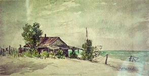 Watercolor House on Beach signed H Herbert